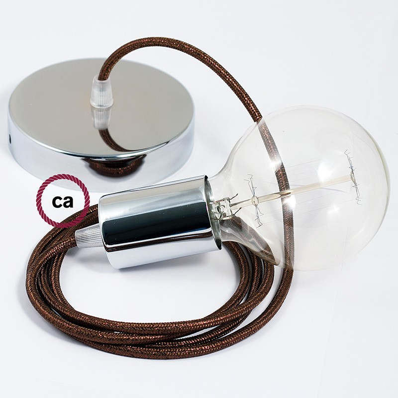 Single Pendant, suspended lamp with Glittering Brown textile cable RL13