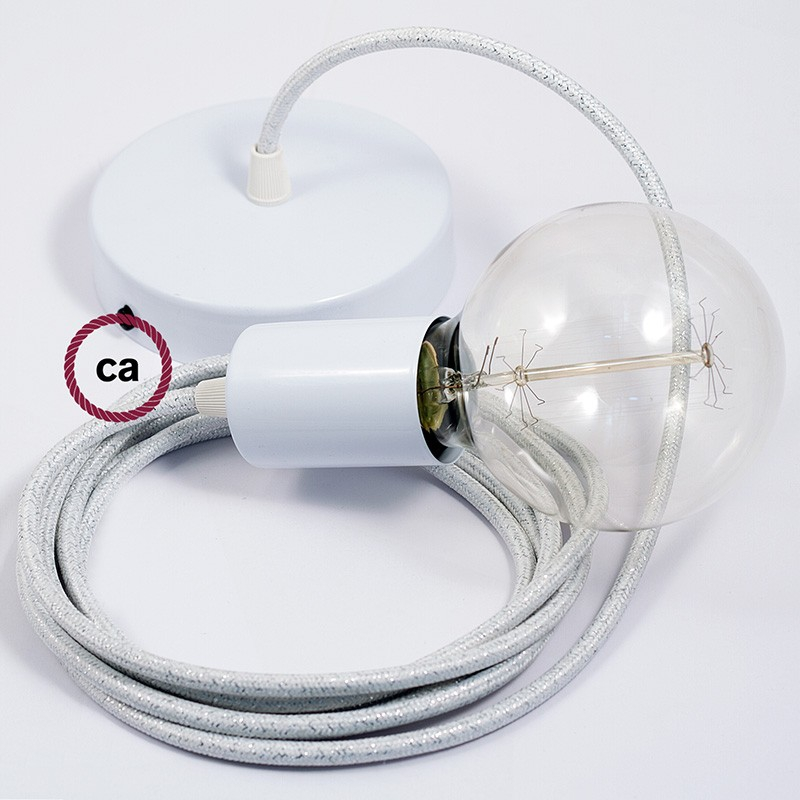 Single Pendant, suspended lamp with Glittering White textile cable RL01