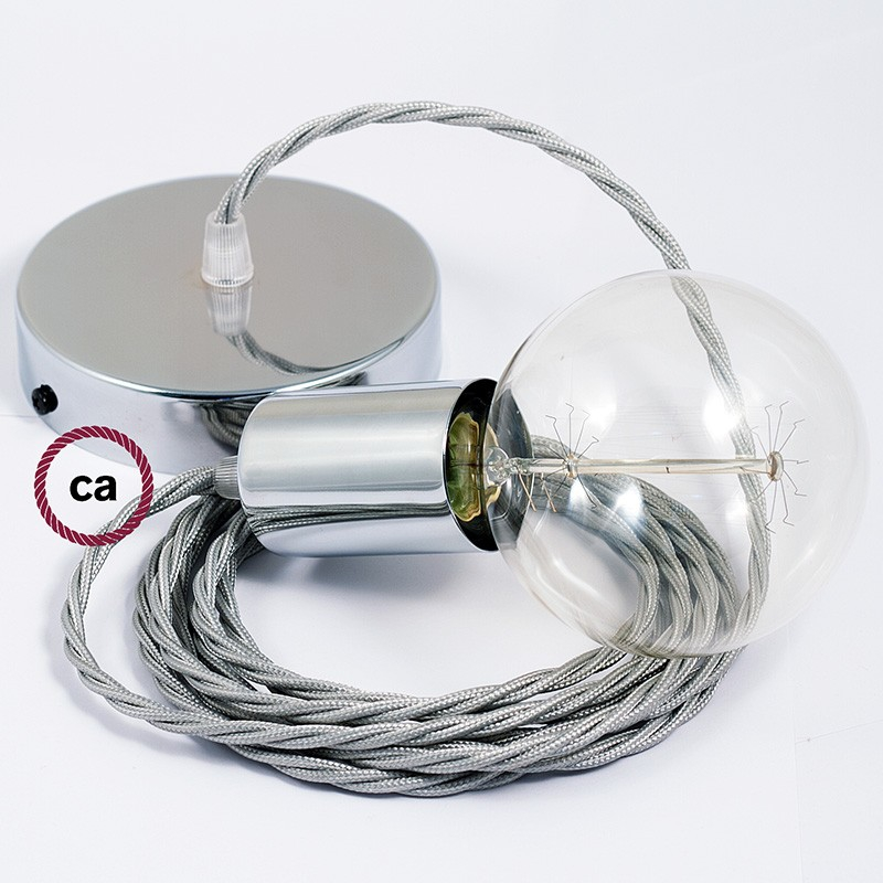 Single Pendant, suspended lamp with Silver Rayon textile cable TM02
