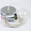 Single Pendant, suspended lamp with Ivory Rayon textile cable TM00
