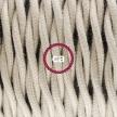 Single Pendant, suspended lamp with Dove Cotton textile cable TC43