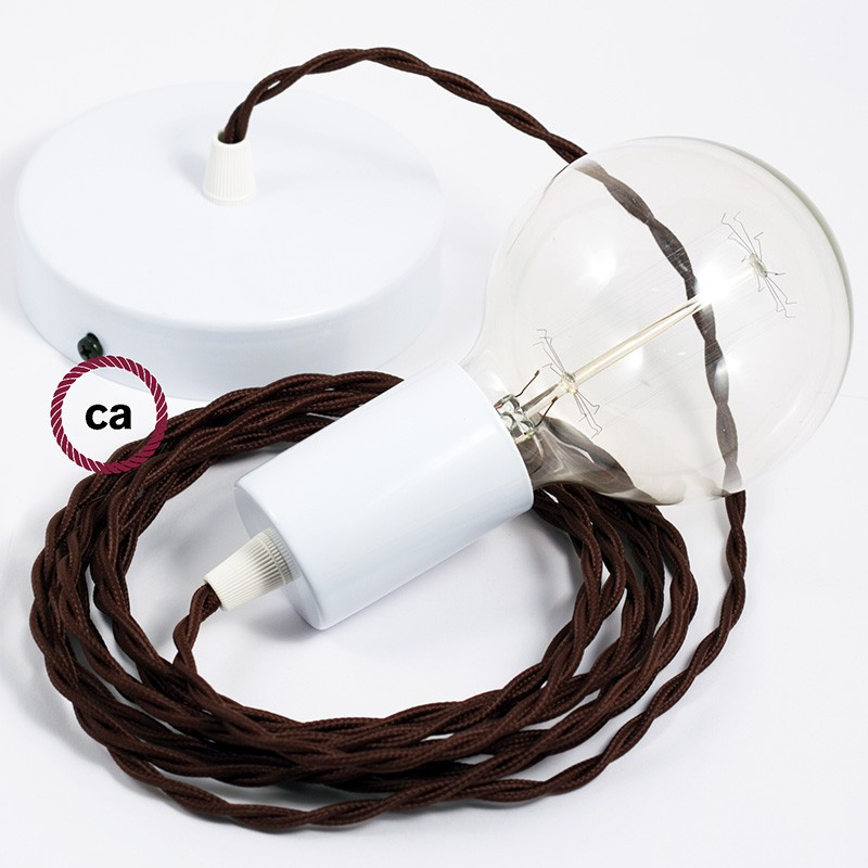 Single Pendant, suspended lamp with Brown Rayon textile cable TM13