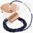 Single Pendant, suspended lamp with Dark Blue Rayon textile cable TM20