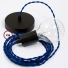 Single Pendant, suspended lamp with Blue Rayon textile cable TM12