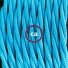 Single Pendant, suspended lamp with Turquoise Rayon textile cable TM11