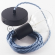 Single Pendant, suspended lamp with Ocean Cotton textile cable TC53