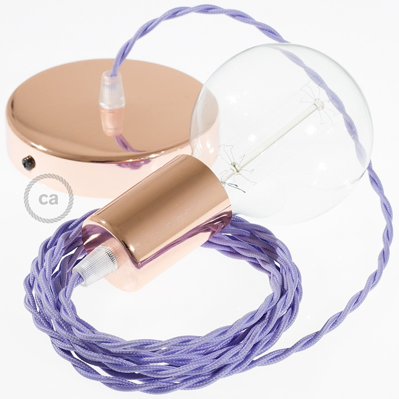 Single Pendant, suspended lamp with Lilac Rayon textile cable TM07