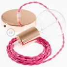 Single Pendant, suspended lamp with Fuchsia Rayon textile cable TM08