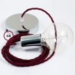 Single Pendant, suspended lamp with Burgundy Rayon textile cable TM19