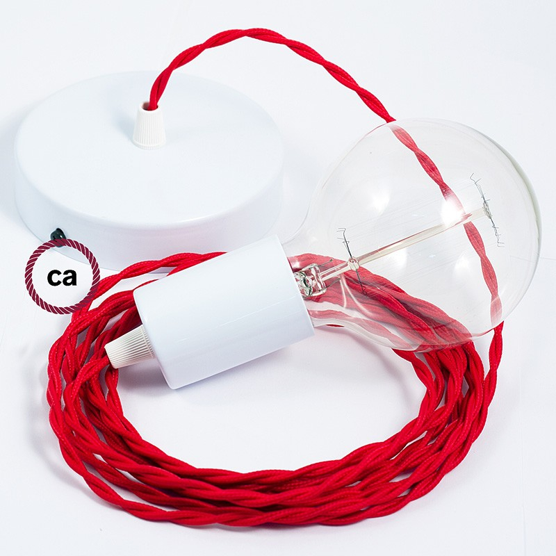 Single Pendant, suspended lamp with Red Rayon textile cable TM09