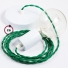 Single Pendant, suspended lamp with Green Rayon textile cable TM06