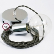 Single Pendant, suspended lamp with Grey Green Cotton textile cable TC63