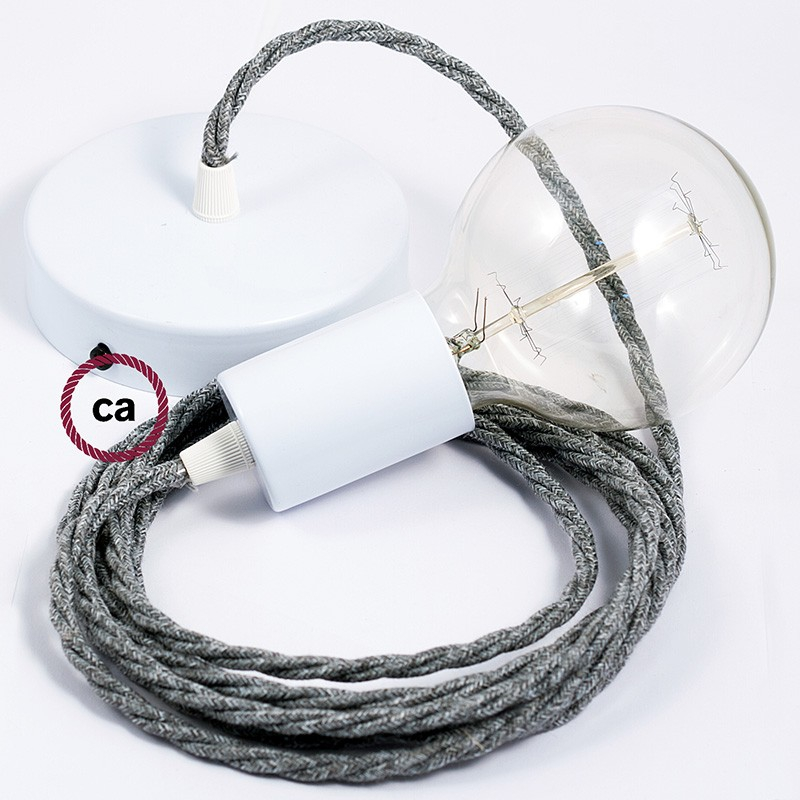 Single Pendant, suspended lamp with Grey Natural Linen textile cable TN02