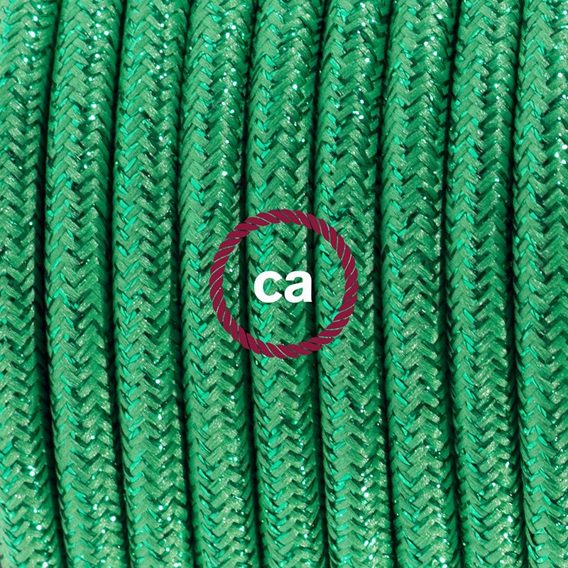 Single Pendant, suspended lamp with Glittering Green textile cable RL06