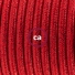 Single Pendant, suspended lamp with Glittering Red textile cable RL09