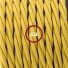 Single Pendant, suspended lamp with Mustard Rayon textile cable TM25