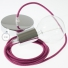 Single Pendant, suspended lamp with Burgundy Cotton textile cable RC32