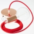 Single Pendant, suspended lamp with Fire Red Cotton textile cable RC35