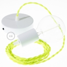 Single Pendant, suspended lamp with Yellow Fluo textile cable TF10