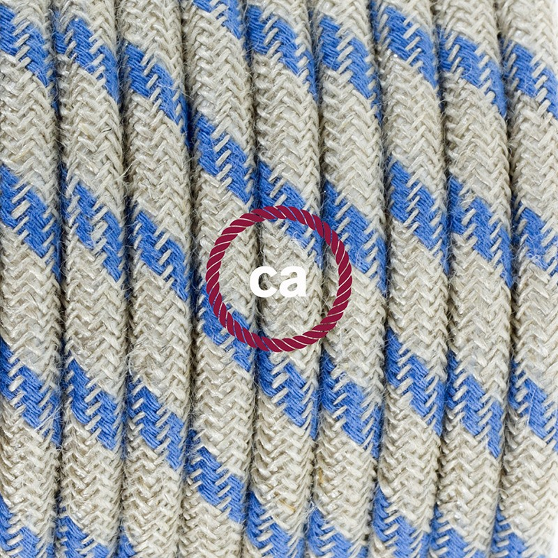 Single Pendant, suspended lamp with Stripes Steward Blue textile cable RD55