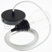 Pendant for lampshade, suspended lamp with White Cotton textile cable RC01