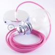 Pendant for lampshade, suspended lamp with Fuchsia Rayon textile cable RM08