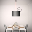 Pendant for lampshade, suspended lamp with Burgundy Rayon textile cable RM19