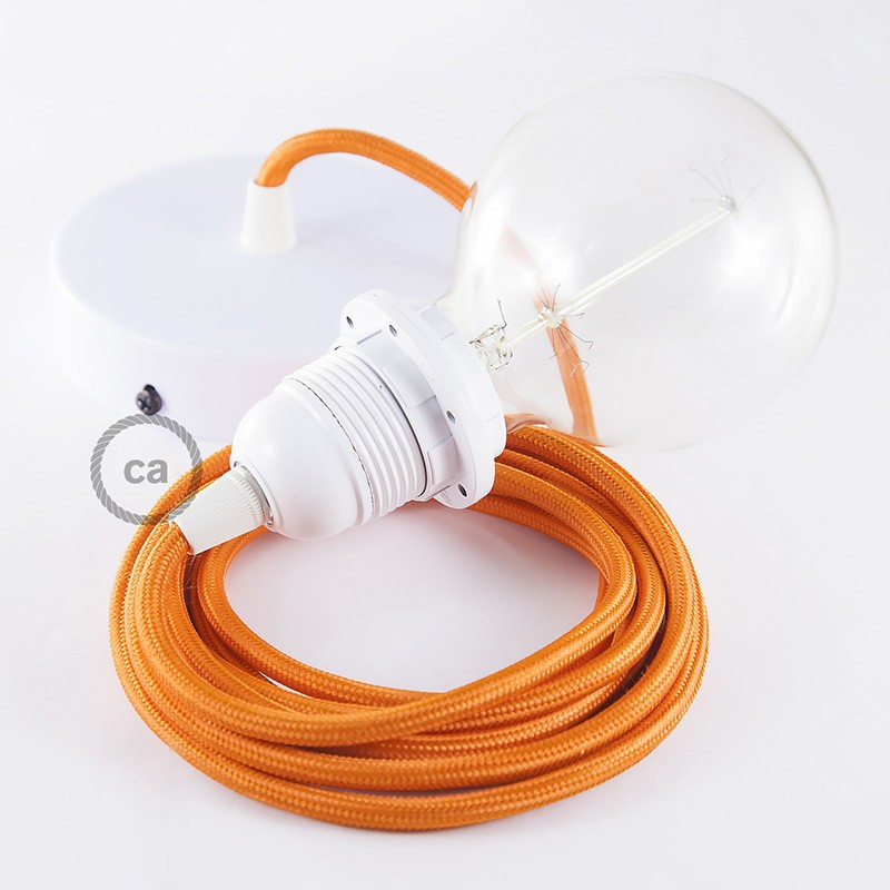 Pendant for lampshade, suspended lamp with Orange Rayon textile cable RM15