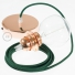 Pendant for lampshade, suspended lamp with Dark Green Rayon textile cable RM21