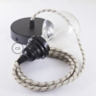 Pendant for lampshade, suspended lamp with Stripes Bark textile cable RD53