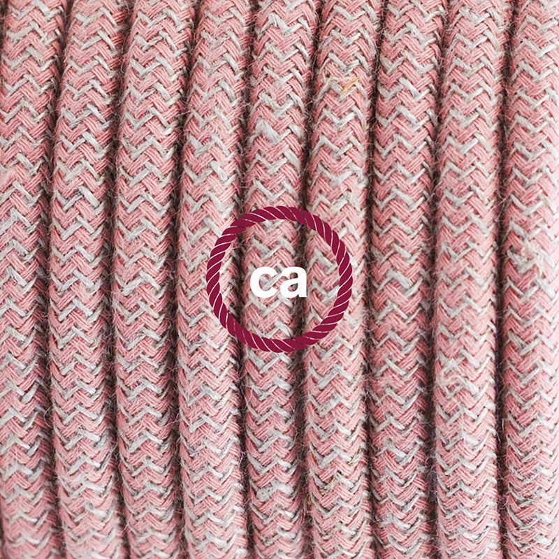 Pendant for lampshade, suspended lamp with ZigZag Ancient Pink textile cable RD71