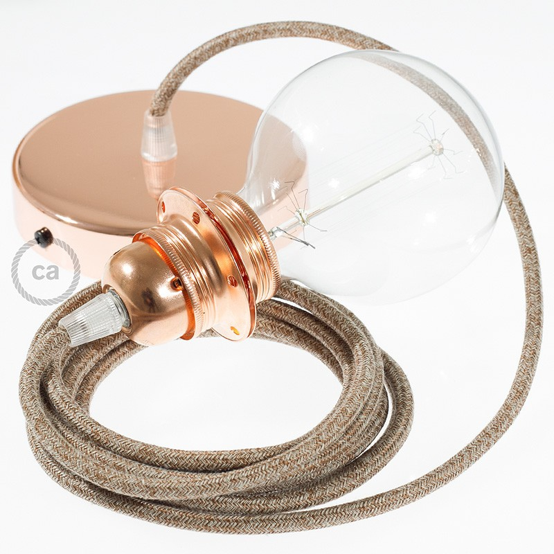 Pendant for lampshade, suspended lamp with Brown Glittering Natural Linen textile cable RS82