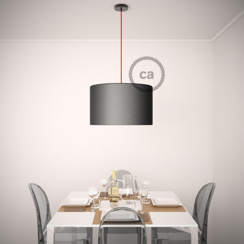 Pendant for lampshade, suspended lamp with Red Glittering Natural Linen textile cable RS83