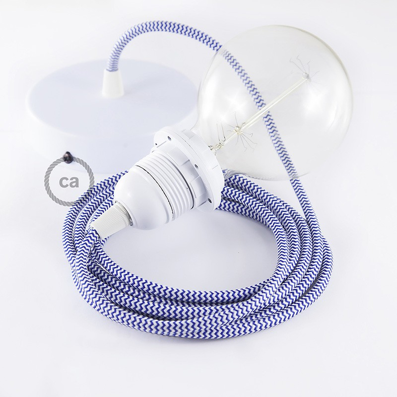 Pendant for lampshade, suspended lamp with ZigZag Blue textile cable RZ12
