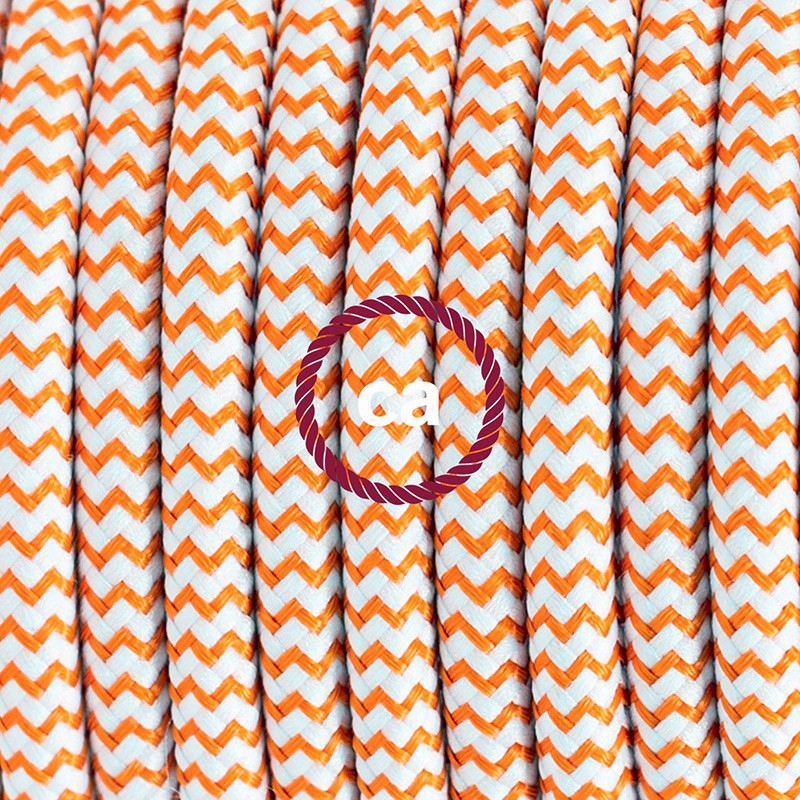 Pendant for lampshade, suspended lamp with ZigZag Orange textile cable RZ15