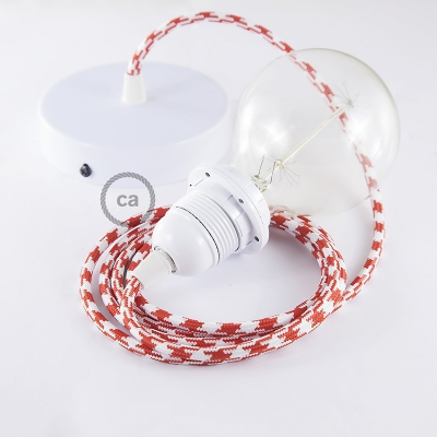 Pendant for lampshade, suspended lamp with Bicolored Red textile cable RP09