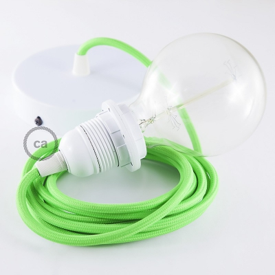 Pendant for lampshade, suspended lamp with Green Fluo textile cable RF06