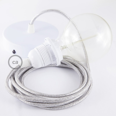 Pendant for lampshade, suspended lamp with Glittering Silver textile cable RL02