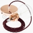 Pendant for lampshade, suspended lamp with Burgundy Rayon textile cable TM19