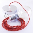 Pendant for lampshade, suspended lamp with Red Rayon textile cable TM09