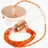 Pendant for lampshade, suspended lamp with Orange Rayon textile cable TM15