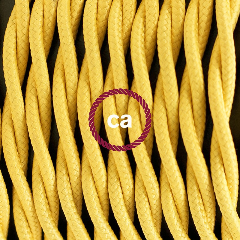 Pendant for lampshade, suspended lamp with Yellow Rayon textile cable TM10