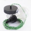Pendant for lampshade, suspended lamp with Green Rayon textile cable TM06