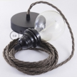 Pendant for lampshade, suspended lamp with Brown Natural Linen textile cable TN04