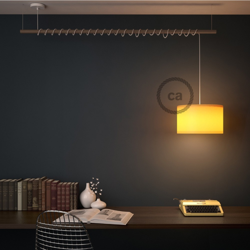 Pendant for lampshade, suspended lamp with Anthracite Natural Linen textile cable TN03