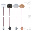 Pendant for lampshade, suspended lamp with Grey Natural Linen textile cable TN02