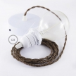 Pendant for lampshade, suspended lamp with Black e Whiskey Rayon textile cable TZ22