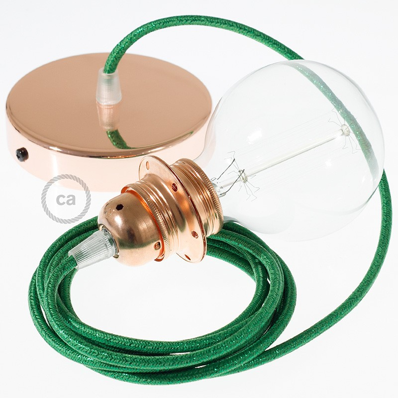 Pendant for lampshade, suspended lamp with Glittering Green textile cable RL06