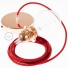 Pendant for lampshade, suspended lamp with Glittering Red textile cable RL09