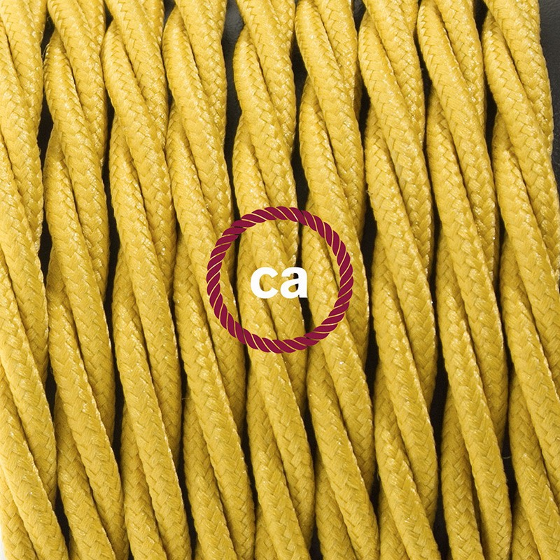 Pendant for lampshade, suspended lamp with Mustard Rayon textile cable TM25